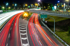 Highway night fork Stock Images