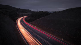 Highway by night with light trails - Azores Sao Miguel Portugal Royalty Free Stock Photography