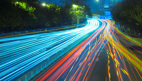 The highway at night stock photography