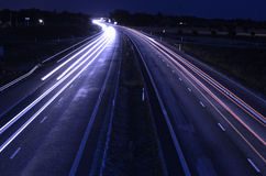 Highway at night. Long exposure. With a blue tint Stock Photos