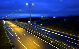 Highway at night. A modern highway at night Stock Photography