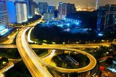 Highway at night in modern city Royalty Free Stock Photo