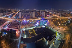 Highway at night in modern city. Aerial view of cityscape Royalty Free Stock Images