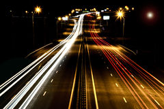 Highway at night in the motion Royalty Free Stock Images