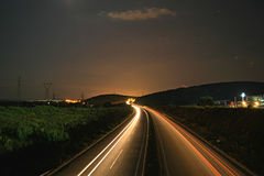 HighWay. Night photo at Kavala , Greece stock images