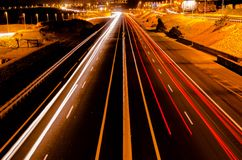 Highway in the Night Royalty Free Stock Photo