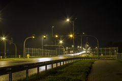 Highway at night rain Royalty Free Stock Photo
