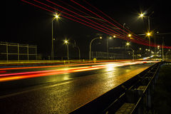 Highway at night rain Royalty Free Stock Photos