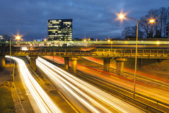Highway at night in Tallinn, Estonia Stock Image