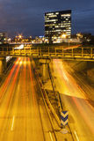 Highway at night in Tallinn, Estonia Royalty Free Stock Photo