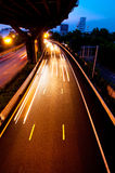 Highway at night time Stock Photo