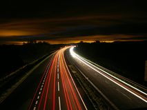 Highway, Night, Traffic, Light Royalty Free Stock Images