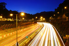 Highway at night. Highway with traffic trail at night Stock Photos