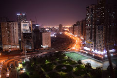 Highway at Night. Highway under bridge at night in U.A.E Sharjah City Royalty Free Stock Photo