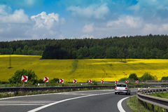 Highway On Yellow Field Royalty Free Stock Image