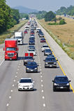Highway With Oncoming Traffic Stock Photo