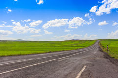Highway, Open views and sunny weather to travel. Royalty Free Stock Photo