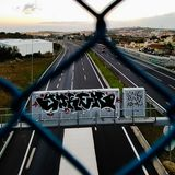Highway outer Lisbon, and wall painting stock image
