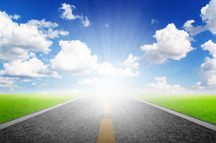 Highway over blue sky Royalty Free Stock Images