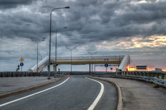 Highway over a dum at sunrise. In HDR Royalty Free Stock Images