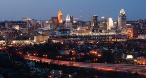 Highway Over Ohio River Cincinnati Downtown City Skyline Stock Photography