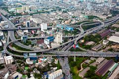 Highway overpass. Aerial view on highway overpass in Bangkok, Thailand Stock Photos