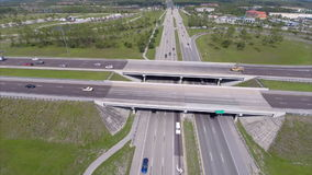 Highway overpass aeiral video. Aerial video of a highway overpass in South Florida stock video footage