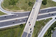 Highway and Overpass Aerial Royalty Free Stock Image