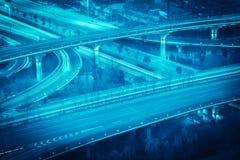Highway overpass closeup at night Royalty Free Stock Photos
