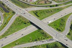 Highway Overpass and Intersection. Aerial view of typical highway exits and overpass Royalty Free Stock Image