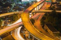 Highway overpass intersection long exposure Stock Photo