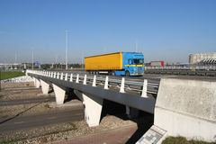 Highway Overpass with Truck royalty free stock photography