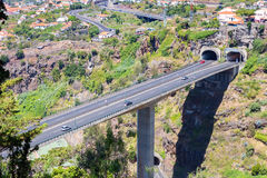 Highway and overpass through tunnels on Madeira Portugal Royalty Free Stock Images