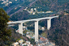 Highway overpass on the valley Royalty Free Stock Images