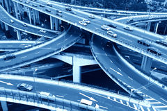 Highway overpass. Vehicles traveling on a patchwork of Shanghai overpass Royalty Free Stock Photography