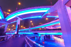 Highway overpasses night Stock Images
