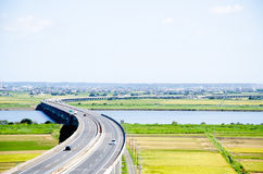 Highway and Paddy Field in Harvest Season Japan Stock Images