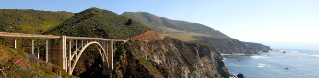 Highway Panorama. Panoramic view of California Highway 1 royalty free stock photography