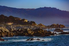 HIghway 1 Panorama. Pebble Beach, California, February 17, 2018: Beautiful sea and rocky point vista along the 17 Mile Drive south of Cypress Point Golf Course Stock Photography