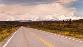 Highway Passes Through Changing Colors Alaska Mountains Autumn S Stock Image