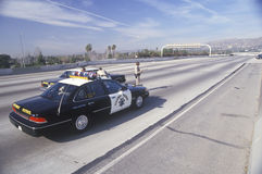 Highway Patrol on earthquake damaged freeway, Los Angeles, California Stock Images