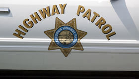 Highway patrol sign on a police car Stock Photo