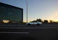 Highway Patrol Vehicle on Side of Expressway. PHOENIX AZ - OCTOBER 04: Arizona Highway Patrol Vehicle on Side of Expressway Phoenix Arizona 2013 Royalty Free Stock Photo