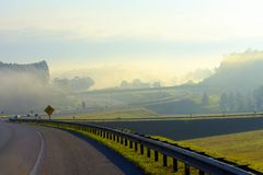 Highway and guard rail in perspective royalty free stock images