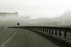 Highway and guard rail in perspective stock photo
