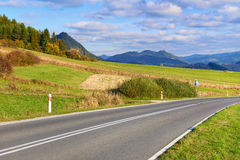 Highway by The Pieniny Mountains landscape. Stock Image