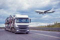 Highway and plane. Stock Photo