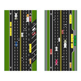 Highway Planning. roads, streets with parking and public transport. Images of various cars, lanes for public transport Royalty Free Stock Image