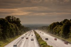 Highway poor visibility Royalty Free Stock Photos