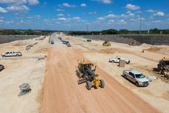A highway in the process of being constructed. stock photography